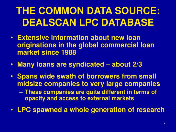 THE COMMON DATA SOURCE: