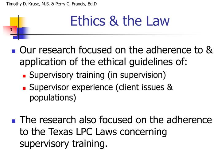 Ethics the law
