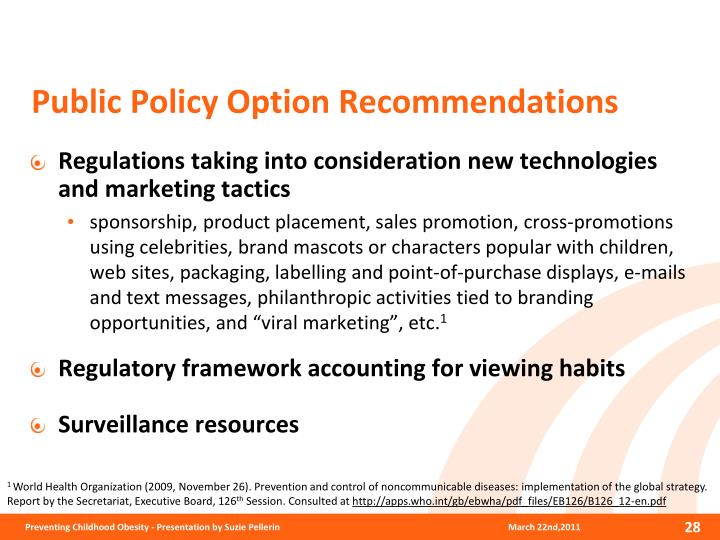 Public Policy Option Recommendations