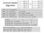 levinson durbin algorithm