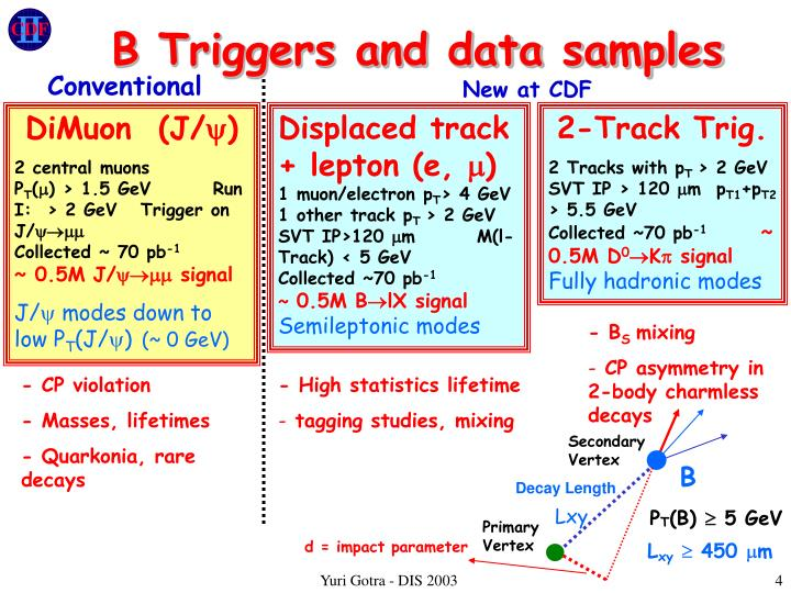 B Triggers and data samples
