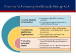 priorities for advancing health equity through aca