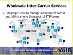 wholesale inter carrier services