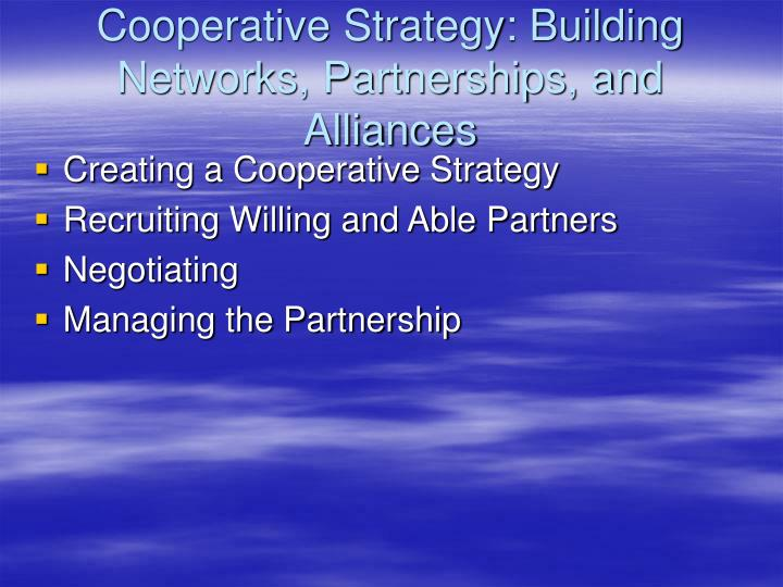 Cooperative Strategy: Building Networks, Partnerships, and Alliances