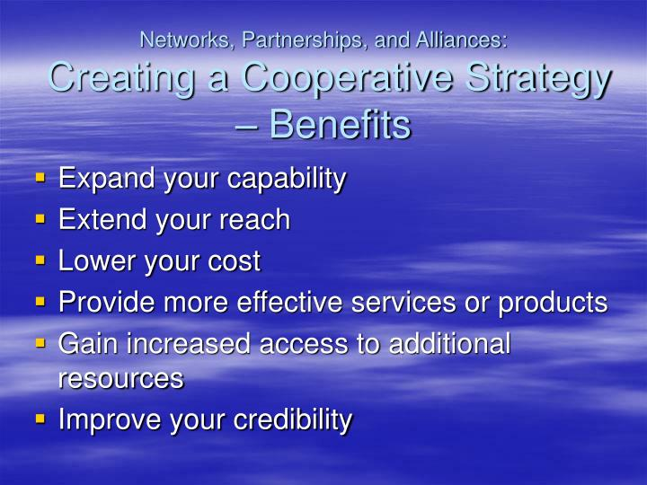 Networks, Partnerships, and Alliances: