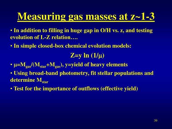 Measuring gas masses at z~1-3