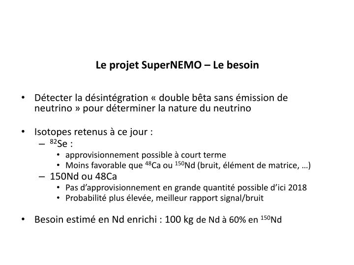 Le projet SuperNEMO – Le besoin