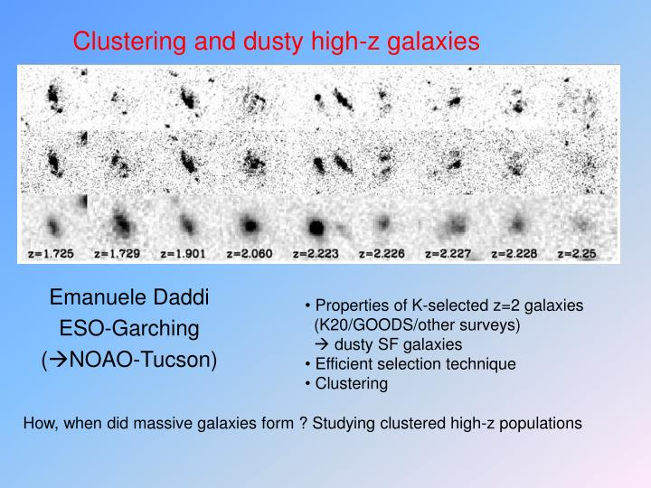 clustering and dusty high z galaxies n.
