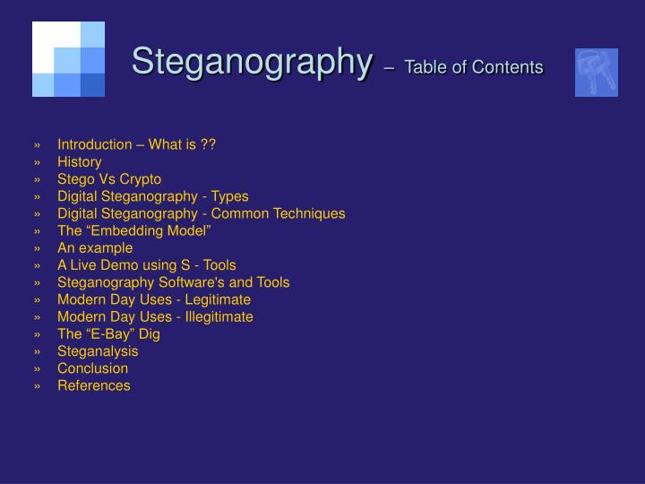 Steganography table of contents