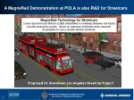 a magnerail demonstration at pola is also r d for streetcars