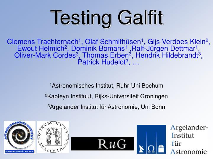 Testing galfit