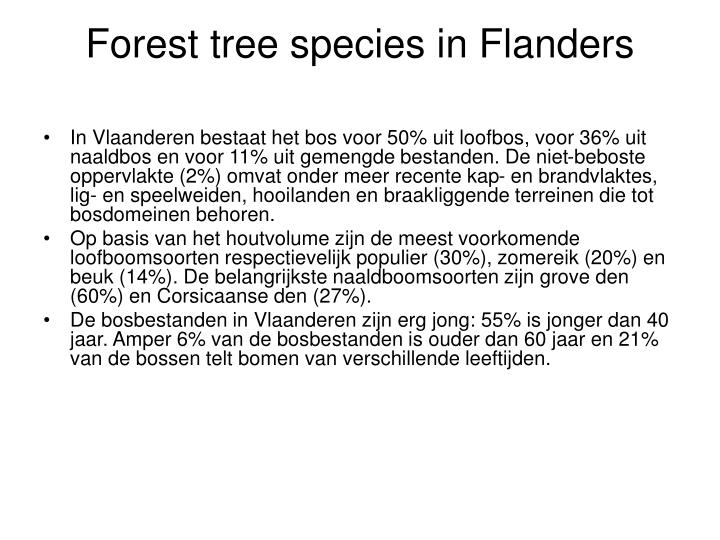 Forest tree species in Flanders
