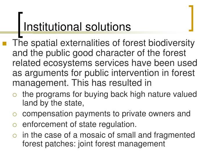 Institutional solutions