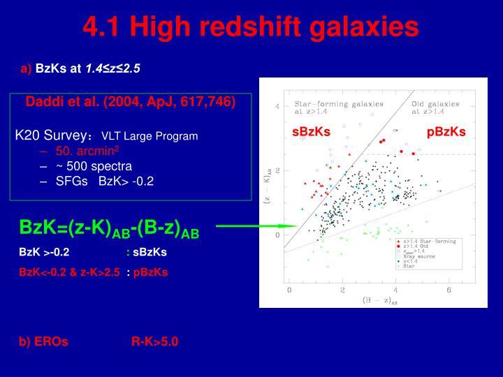 4.1 High redshift galaxies