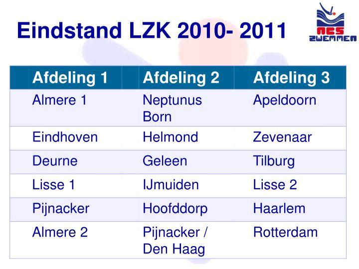 Eindstand LZK 2010- 2011