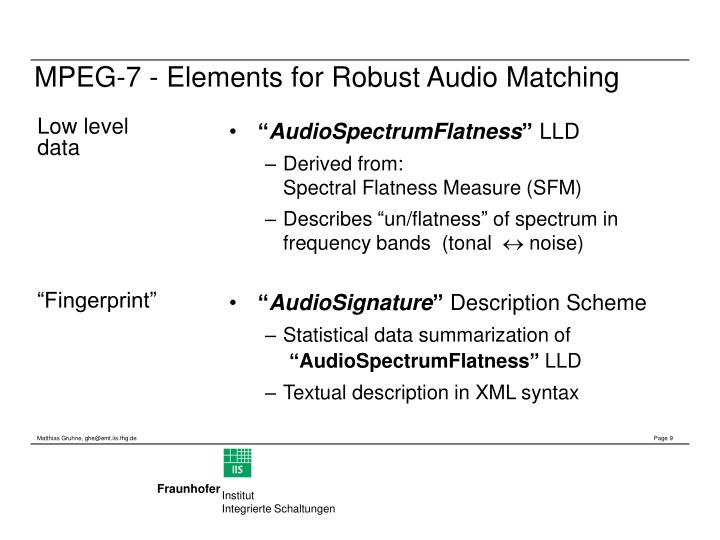 MPEG-7 - Elements for Robust Audio Matching