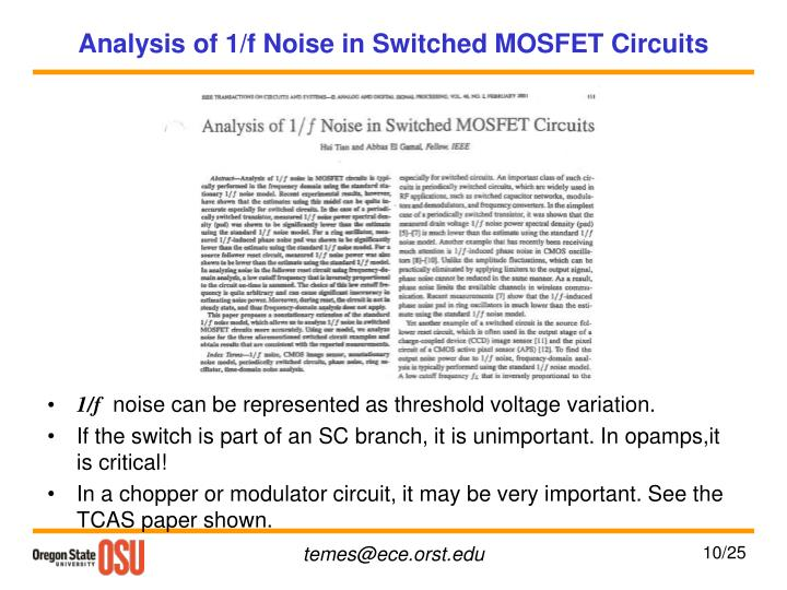 Analysis of 1/f Noise in Switched MOSFET Circuits
