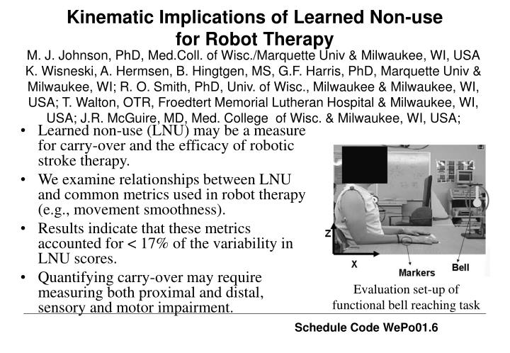 kinematic implications of learned non use for robot therapy n.