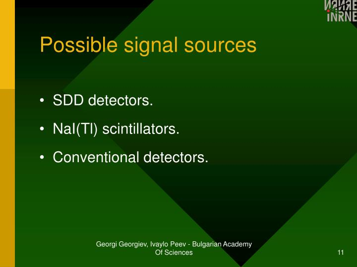 Possible signal sources