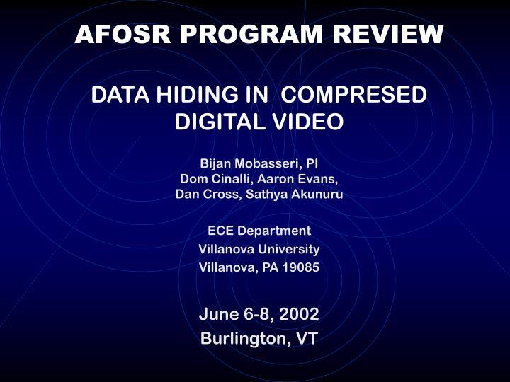 afosr program review data hiding in compresed digital video n.