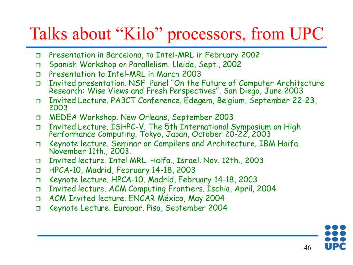 """Talks about """"Kilo"""" processors, from UPC"""