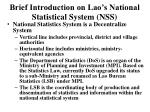brief introduction on lao s national statistical system nss