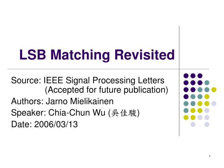 lsb matching revisited