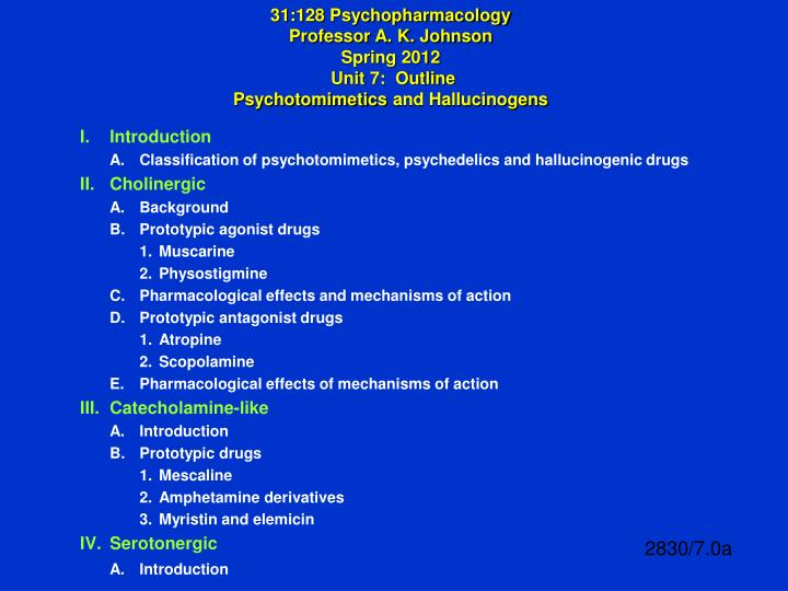 PPT - I  Introduction A  Classification of psychotomimetics