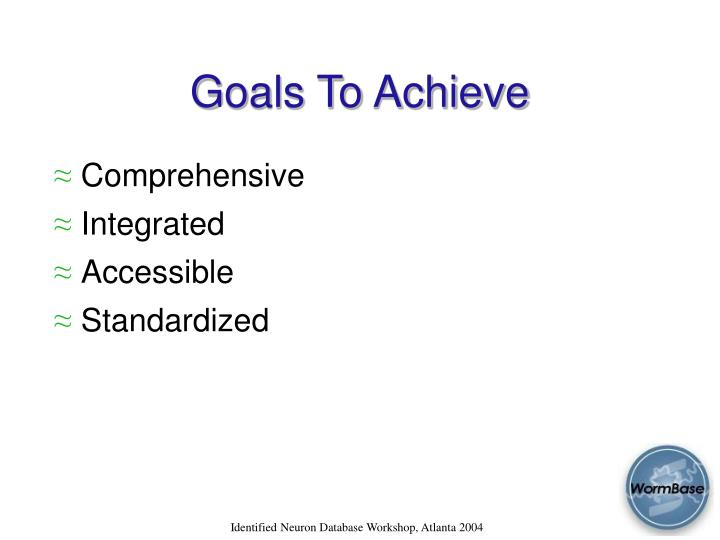 Goals To Achieve
