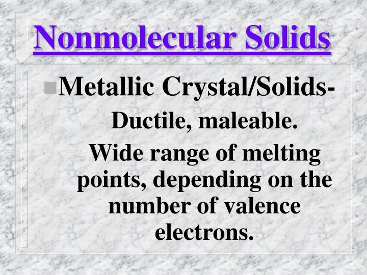 Nonmolecular Solids