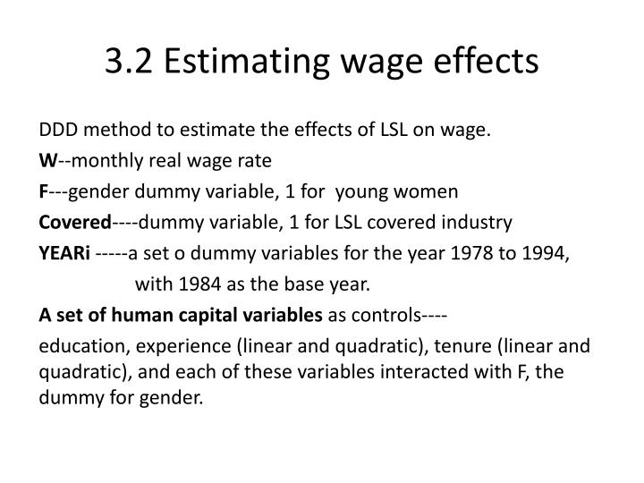 3.2 Estimating wage effects