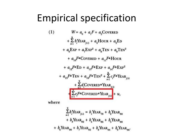 Empirical specification