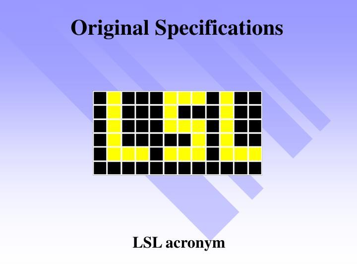 Original Specifications