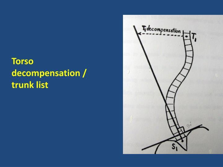 Torso decompensation / trunk list