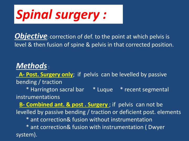 Spinal surgery :