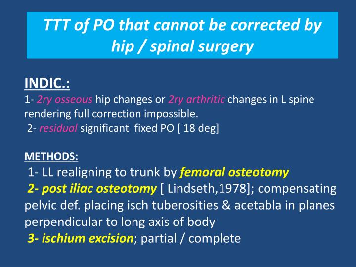 TTT of PO that cannot be corrected by            hip / spinal surgery