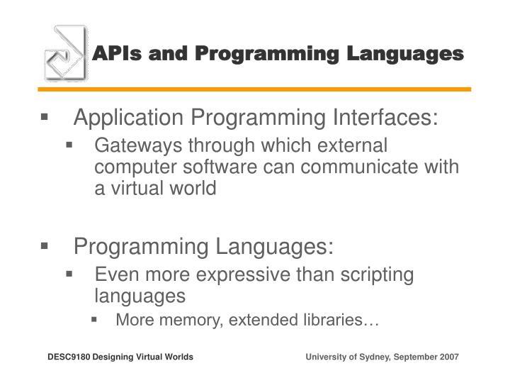 APIs and Programming Languages