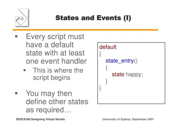 States and Events (I)