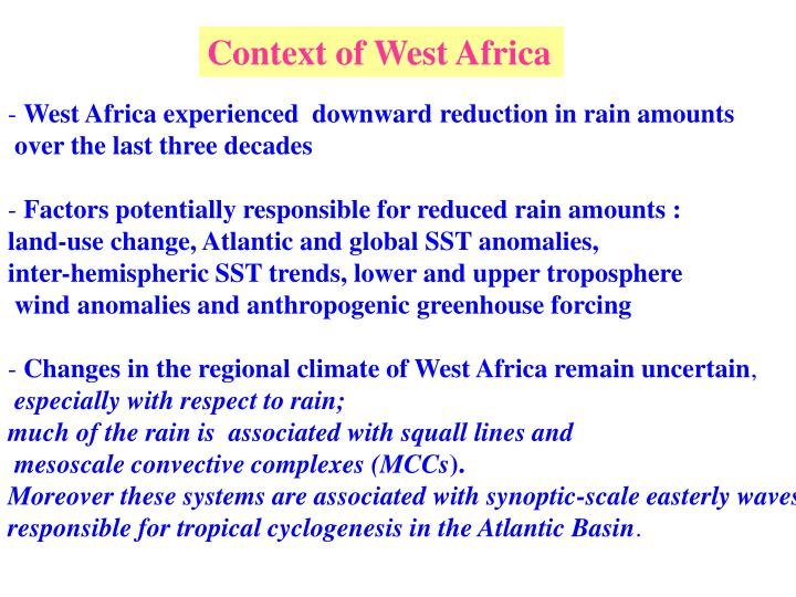 Context of West Africa