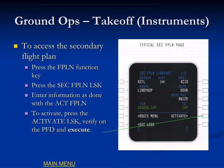 Ground Ops – Takeoff (Instruments)