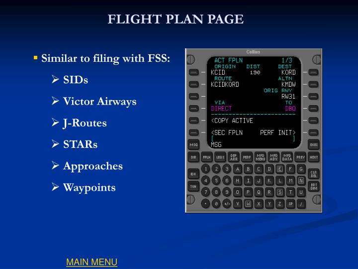 FLIGHT PLAN PAGE