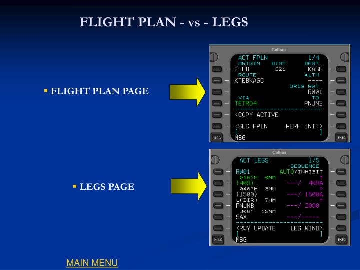 FLIGHT PLAN - vs - LEGS