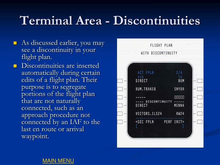 Terminal Area - Discontinuities