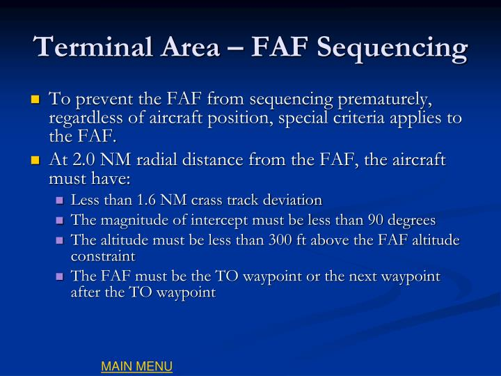 Terminal Area – FAF Sequencing