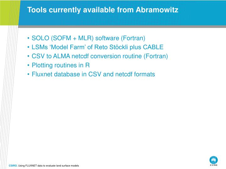 Tools currently available from Abramowitz