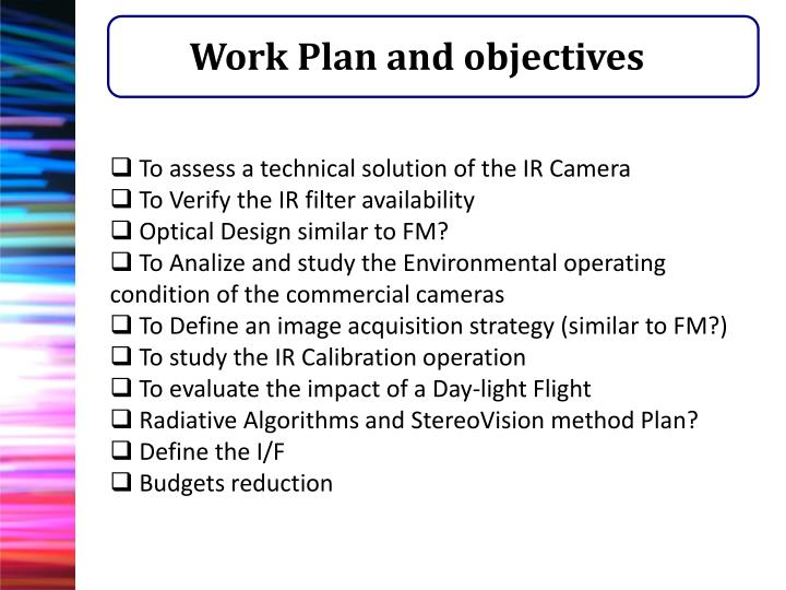 Work Plan and objectives