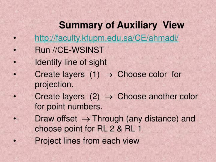 Summary of Auxiliary  View