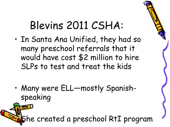 Blevins 2011 CSHA:
