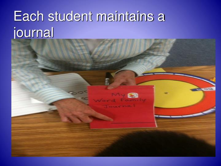 Each student maintains a journal