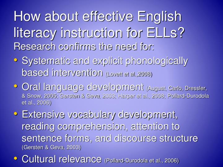 How about effective English literacy instruction for ELLs?